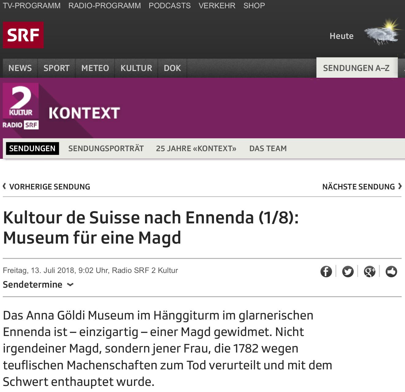 SRF2 Kontext 12.07.2018 - Kultour de Suisse nach Ennenda (1/8): Museum für eine Magd