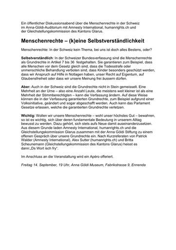 Menschenrechtsanlass 14  Sept 2018