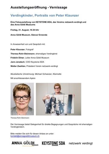 Verdingkinder, Portraits von Peter Klaunzer AGM Vernissage definitiv
