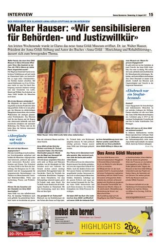 «Wir sensibilisieren für Behörden- und Justizwillkür» / Obersee Nachrichten 24.08.2017 - Seite 15