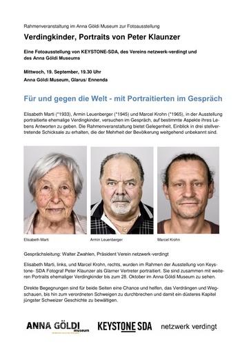 Verdingkinder, Portraits von Peter Klaunzer AGM Rahmenveranstaltung 19 09 2018 definitiv